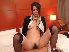 Asian sensual stweardess riding lusty prick in bed