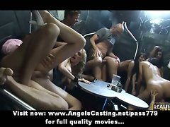 Amazing dark haired and blondie lezzies stroking and fingering muff in a three way lezzy orgy