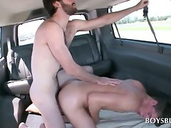 Excited dude bangs gay bum hole in the bus