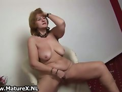 Lewd older mature whore stripping and playing part2
