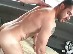 Dark haired charming dudes having asshole sex in bus