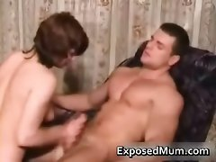 Mummy with a attractive body riding a buff lad part5