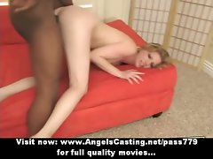 Nude graceful blond banged wild by ebony fellow and cumshot on face