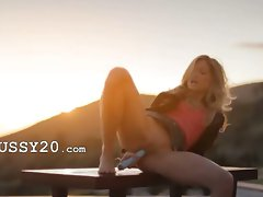 Tempting blonde glamour Francesca during sunset
