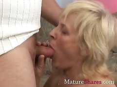 Buxom attractive mature Alice with her new young man