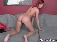 Sensual redhead lass gets alluring showing off part2