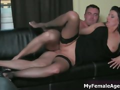 Sensual mum boss gets her narrow pussy part1