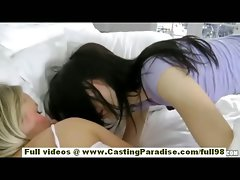 Natalia Rogue and Aiden Ashley tempting blonde and dark haired lez girls sleeping and kissing