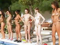 Six nude lasses by the pool from poland