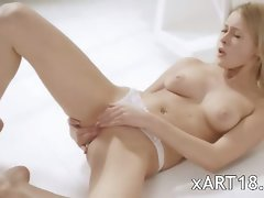 Blond schoolgirl in white masturbation