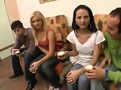 Blond and Dark haired 4some
