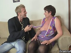 Raunchy granny jumps on stiff meat