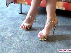 Sexual feet on high heels