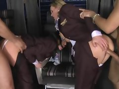 CFNM - clothed stewardess' screwed in first class