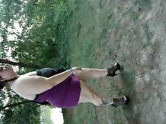 18yo Fatty with big hangers walks in the park in high heels