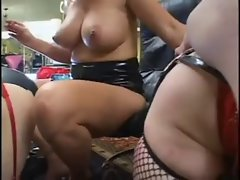 Tempting blonde goddess with two shemale slave Part 3