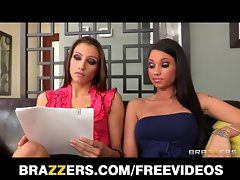 Brazzers - Two lewd & mean dark haired initiate their roomate