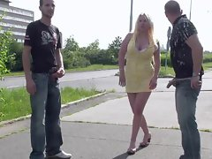 HUGE Hooters babe PUBLIC ORGY in the middle of a STREET part 1
