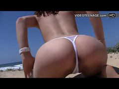 sexual sizzling teen at beach