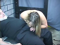 Heavy BDSM bitch gets nipples pinched then bound on table for BJ