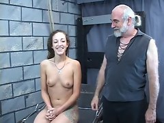 Wild spanking for sensual 19 years old dark haired perky tit young lady from elder bdsm master Len