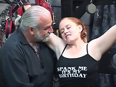 Redhead Obese Kirsten gets her plump bum whipped by master