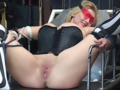 Sexy, curvy light-haired gets bound, has her twat toyed