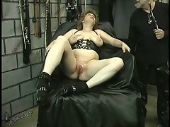 Filthy light-haired gets drilled with all kinds of toys on a table