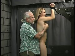 Man binds sensual blond's wrists and show her who's boss.