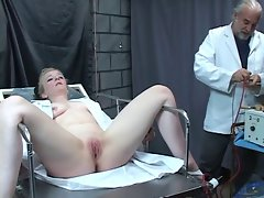 Innocent thick gal is probed and shagged by mad doctor in dungeon