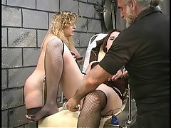 Seductive thick lezzy bdsm lasses with very hairy bushes play with vibrating sex toys in basement
