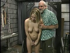 Tempting blonde with lewd pierced hooters gets tortured