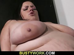 Bored Cute bbw jumps on his randy shaft