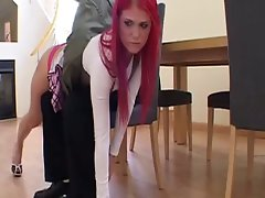 Beautifully Redhead gets the butt spanking