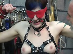 Great 18 years old blindfolded dark haired in corset is tortured by Master Len