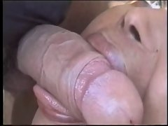 Shemale strokes on a big thick shaft deep in her mouth