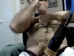 Blue collar Dad wank with Suck Pump Toy