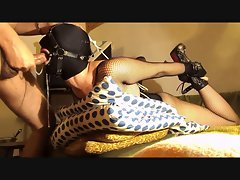 Ring gagged slave bitch in hogtied gets deep throat slamming