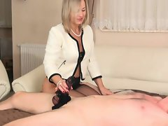 attractive mature nylon footjob and handjob 8
