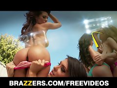 Brazzers - Attractive blond with a irreproachable butt is oiled up for rectal