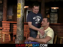 Straight bartender letting his naughty bum get nailed