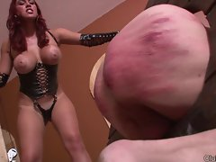 Mistress Megan devastating a slave