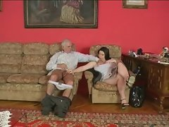 big beautiful woman bangs elder man
