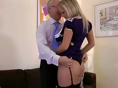 Attractive blond slutty girl with mouthful of dick with happy aged fellow