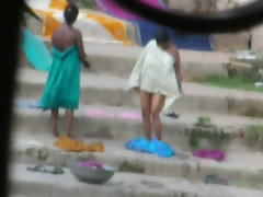 Randy indian Aunty bath in River 3