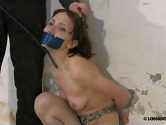 Chained and gagged Lola was bullwhipped hard.