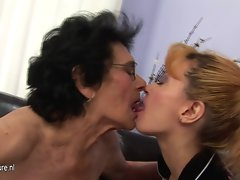 Kinky granny stroking a attractive 19yo young lady