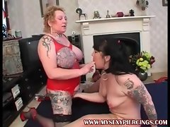 Pierced and tattooed Housewifes taking on two pricks