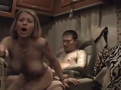 Amateur Trailer Big Tit Mummy Caresses and gets Anus Creampie