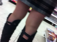 Pantyhosed Legs at Supermarket